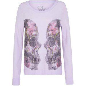 CHASER LA Twin Skulls Crew Neck Sweatshirt Pink